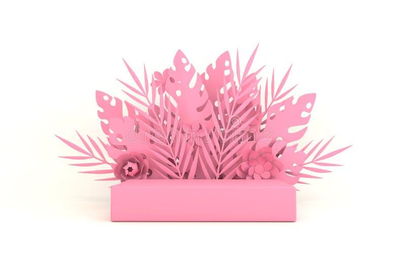 热带纸棕榈、monstera叶子和花框架,产品介绍的指挥台平台 r origami 免版税库存照片