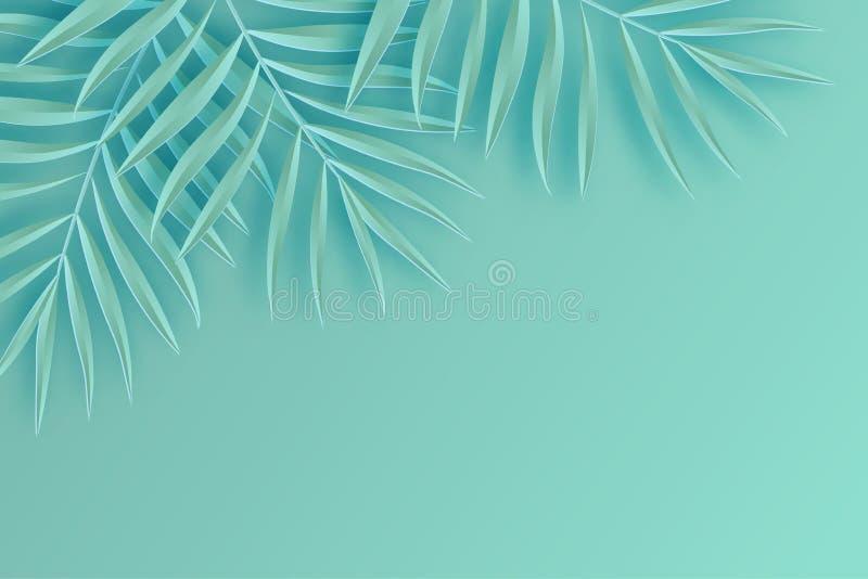 热带纸棕榈叶框架 夏天热带叶子 origami 皇族释放例证