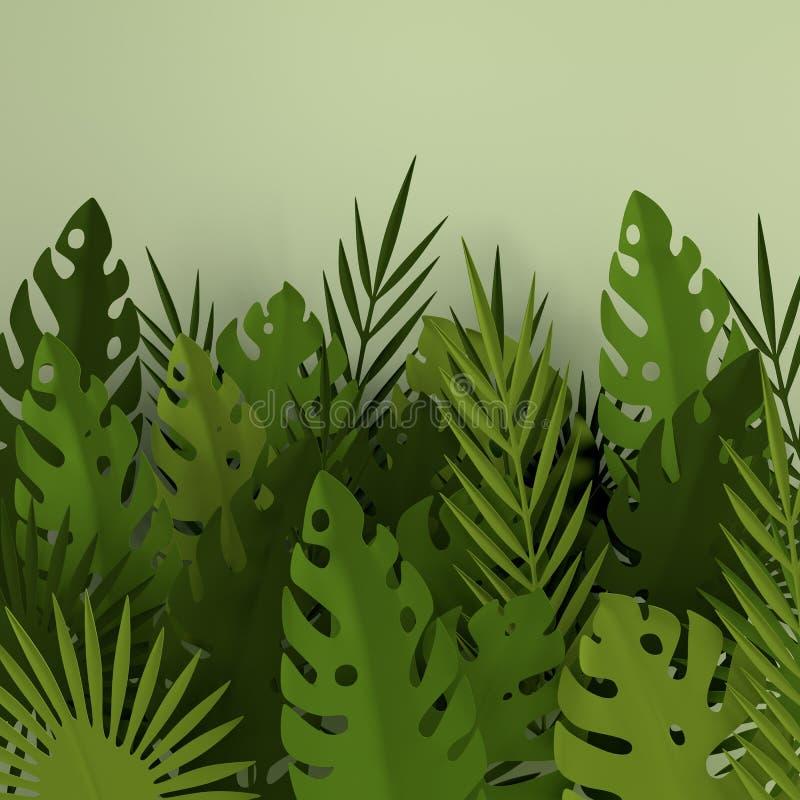 热带纸棕榈叶框架 夏天热带绿色叶子 Origami异乎寻常的夏威夷密林叶子,夏令时背景 纸 皇族释放例证