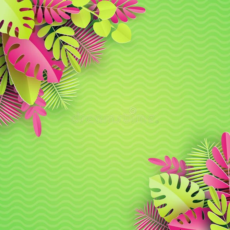 热带纸棕榈, monstera离开框架 夏天热带叶子 Origami异乎寻常的夏威夷密林,夏令时背景 皇族释放例证
