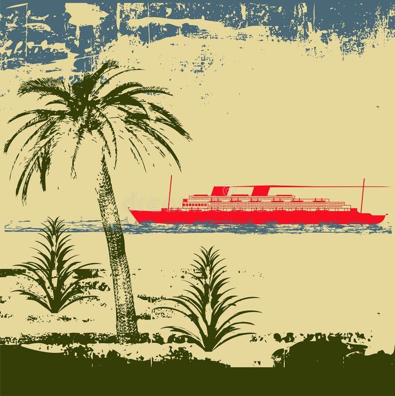 热带背景的巡航 皇族释放例证