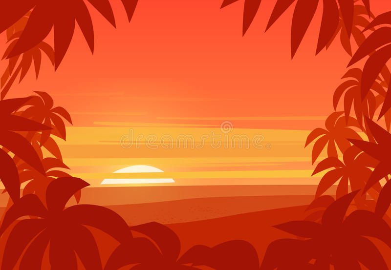 热带背景的掌上型计算机 在夏天海滩的日落 皇族释放例证
