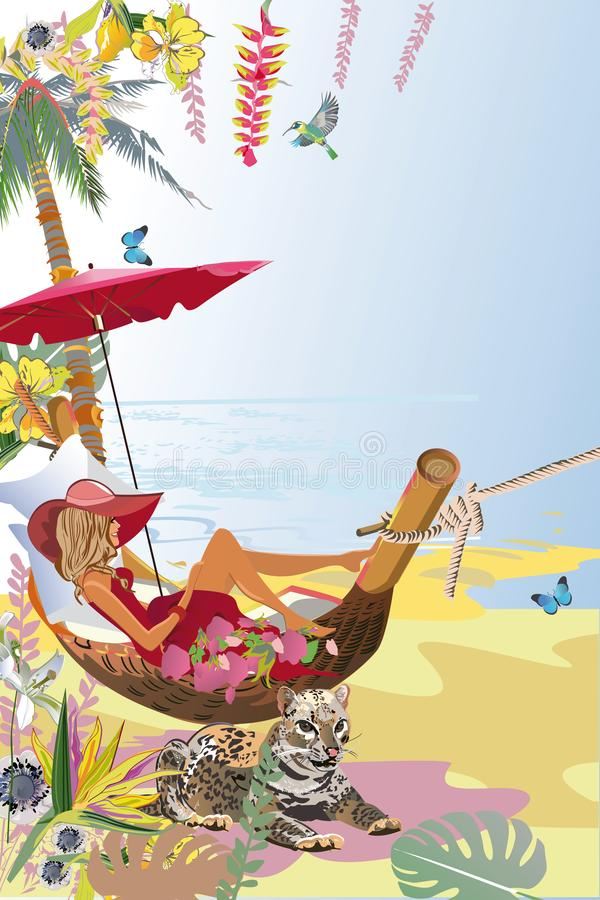 热带背景系列与时尚女孩的吊床的 皇族释放例证