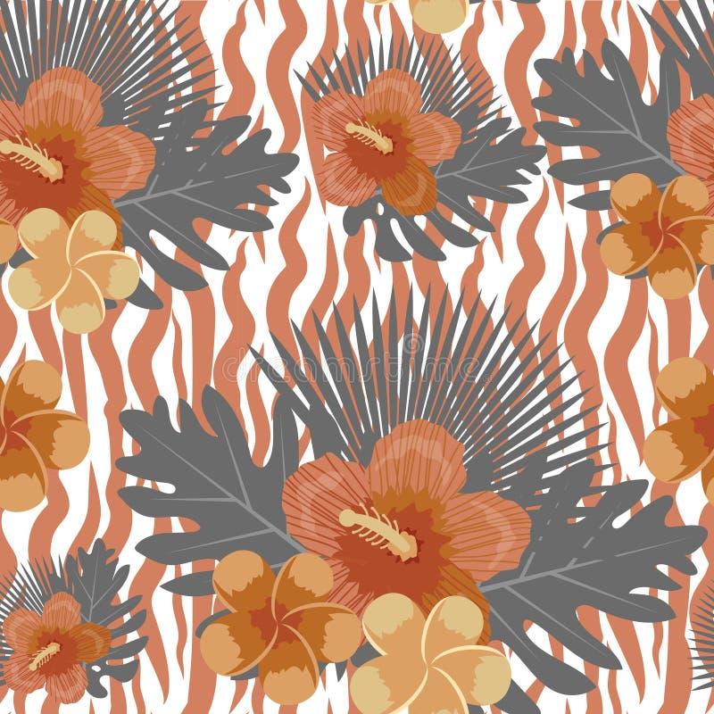 热带花、植物,叶子和动物皮毛无缝的样式 夏天不尽的花卉背景 天堂重复 向量例证