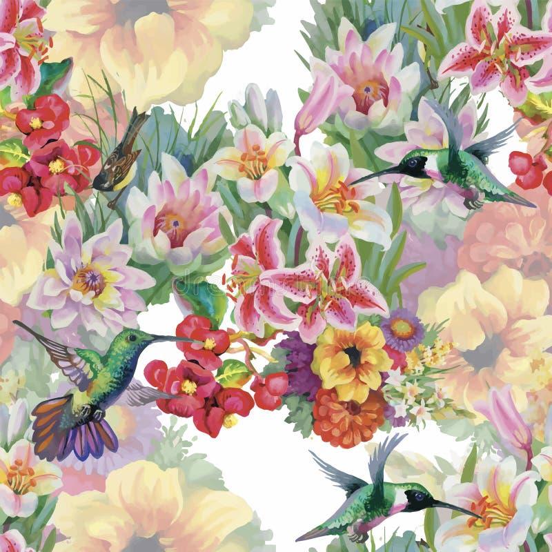 热带花卉与colibris和花的水彩无缝的样式 多孔黏土更正高绘画photoshop非常质量扫描水彩 库存例证