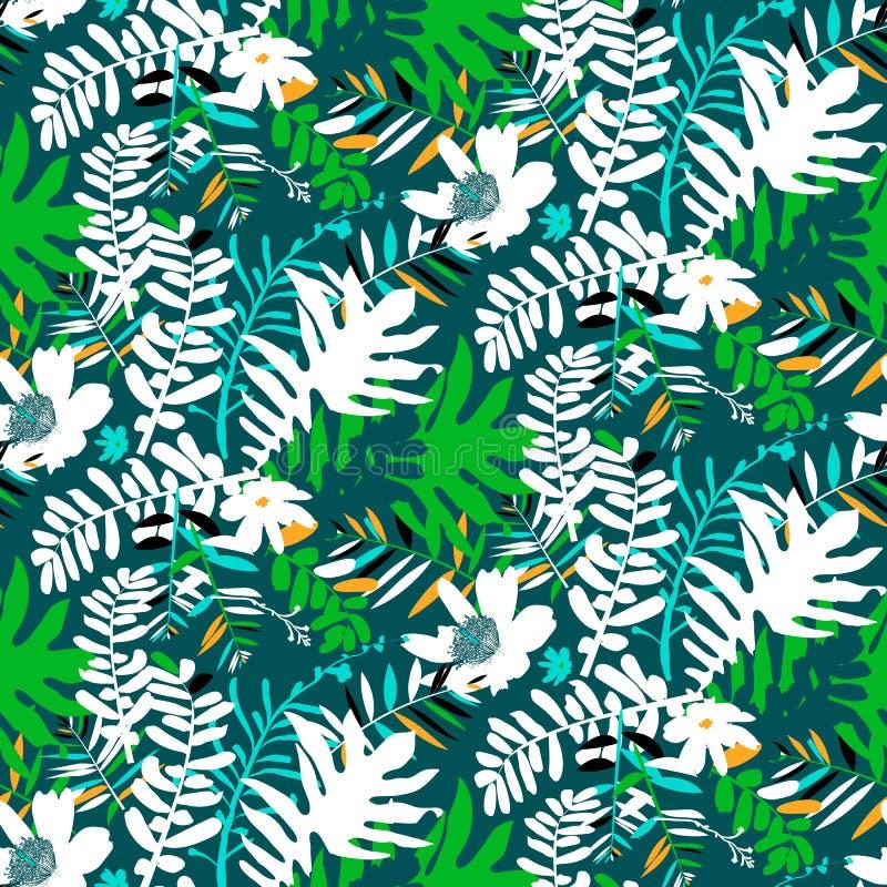 热带花卉的模式 向量例证