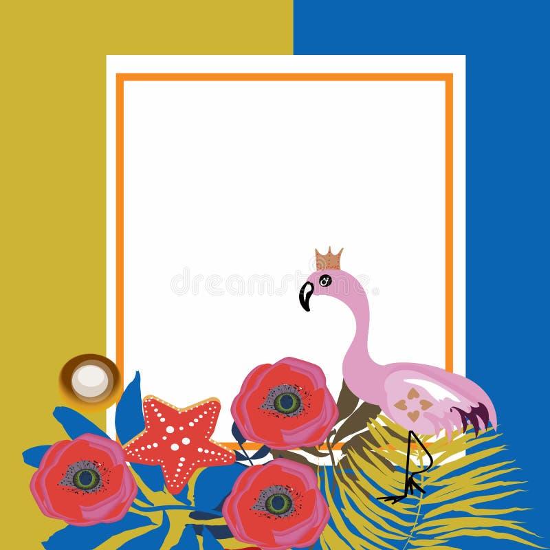 热带花和火鸟夏天横幅、图表背景、异乎寻常的花卉邀请、飞行物或者卡片 现代前面 皇族释放例证