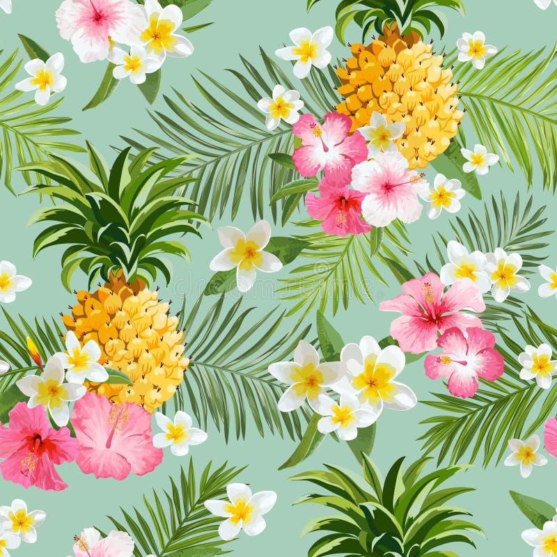 热带花和菠萝背景 向量例证