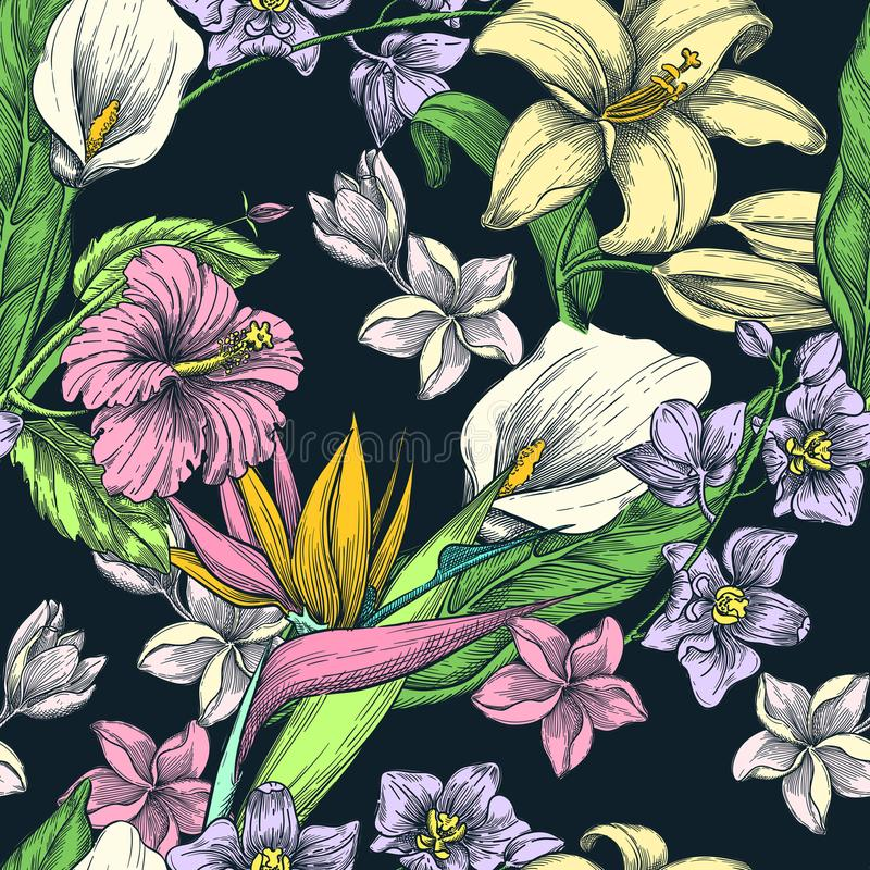 热带花无缝的传染媒介样式 剪影手拉的例证 时尚纺织品印刷品或花卉背景 向量例证