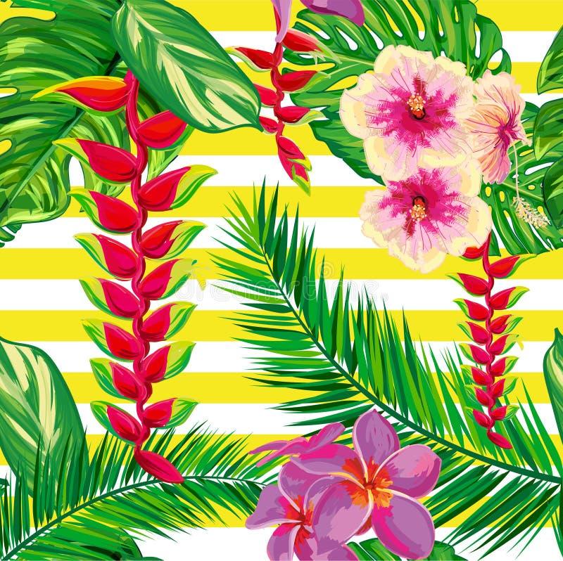 热带花,棕榈叶,花,小条 向量例证