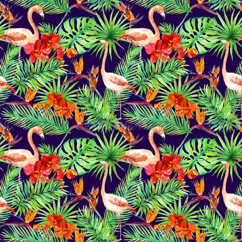 热带设计:异乎寻常的叶子,火鸟,兰花花 无缝的模式 水彩 库存照片