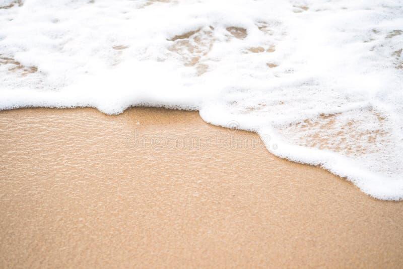 热带金黄海海滩和软的波浪与白色泡沫在沙子 免版税库存图片