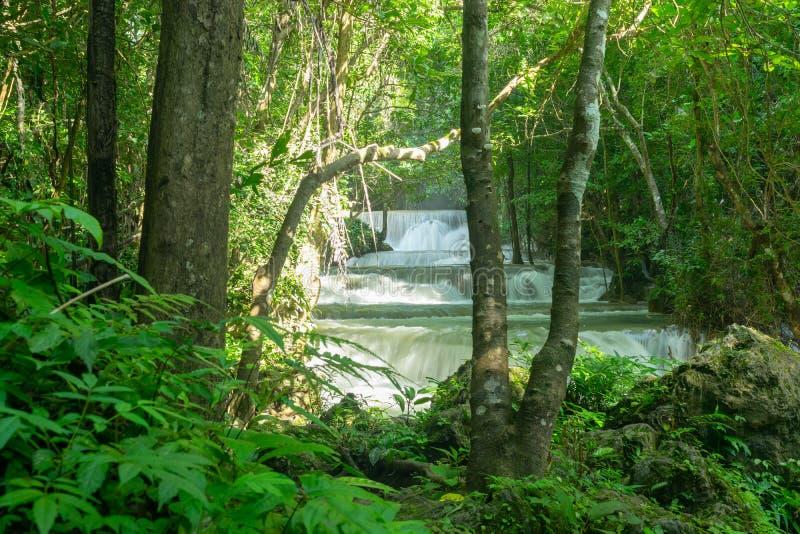 热带雨林和瀑布在槐Mae Khamin 库存照片