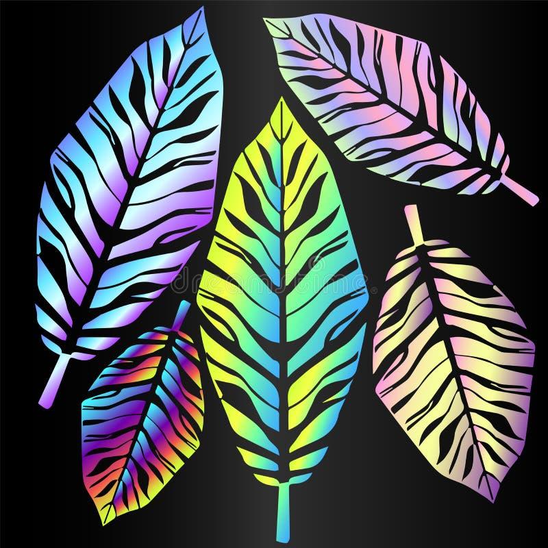 热带霓虹叶子-季节趋向剪影 向量例证