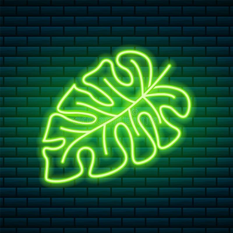 热带霓虹灯广告 绿色植物或叶子 夜明亮的牌,发光的象,轻的横幅 俱乐部的夏天商标或 向量例证