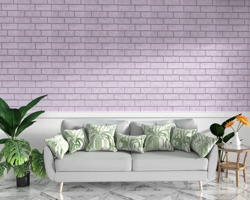 热带顶楼内部嘲笑与沙发和装饰和桃红色砖墙在花岗岩地板上 3d?? 库存例证