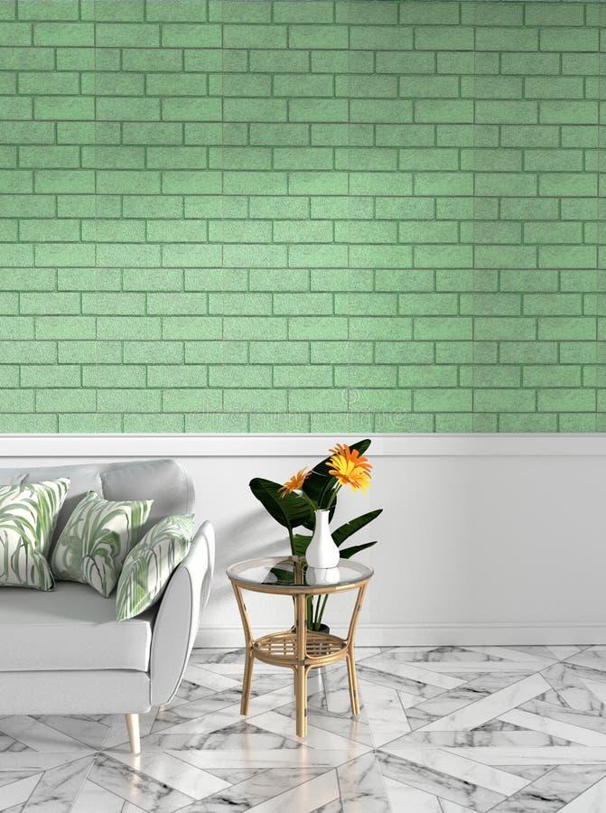 热带顶楼内部嘲笑与沙发和装饰和绿色砖墙在花岗岩地板上 3d?? 皇族释放例证