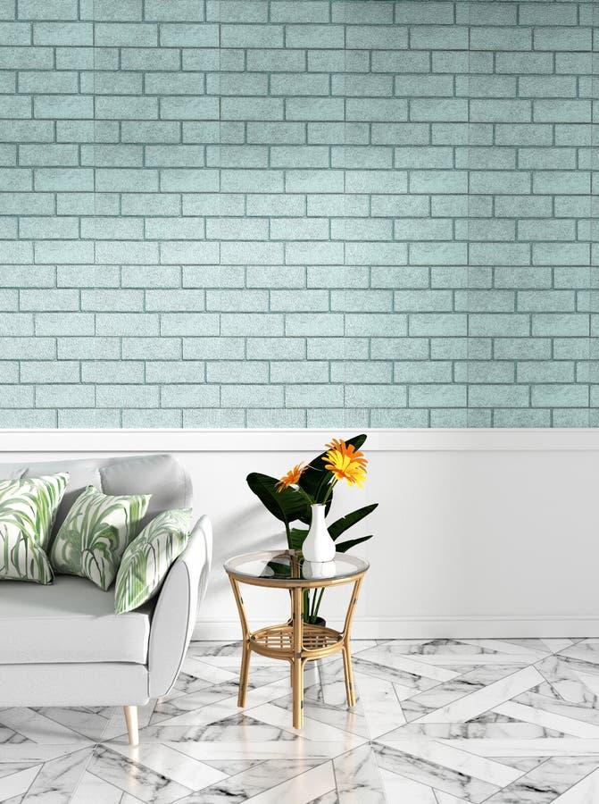 热带顶楼内部嘲笑与沙发和装饰和薄荷的砖墙在花岗岩地板上 3d?? 向量例证