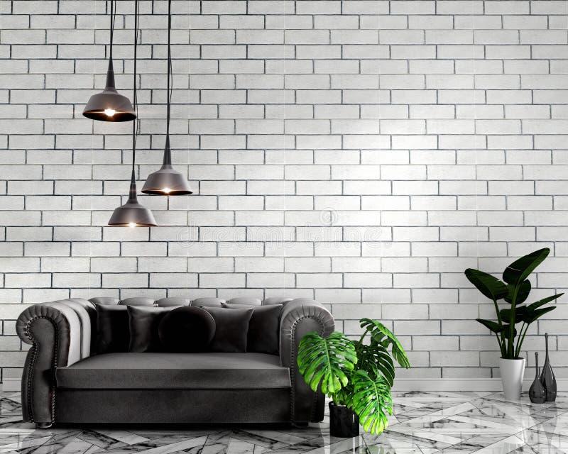 热带顶楼内部嘲笑的嘲笑与沙发和装饰和白色砖墙在花岗岩地板上 3d?? 向量例证
