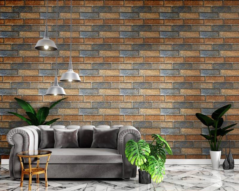热带顶楼内部嘲笑的嘲笑与沙发和装饰和砖墙在花岗岩地板上 3d?? 库存例证