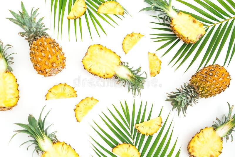 热带食物样式由菠萝制成结果实与在白色背景的棕榈叶 平的位置,顶视图 图库摄影