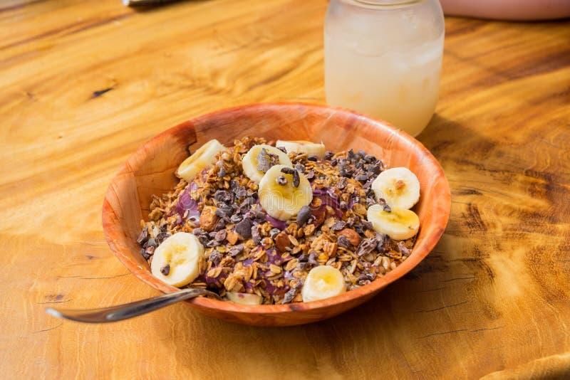 热带食物Acai碗奥阿胡岛夏威夷 图库摄影