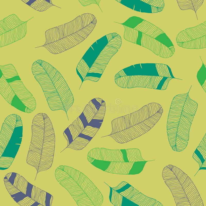 热带香蕉在黄色背景,葡萄酒样式留下手拉的等高无缝的样式 皇族释放例证
