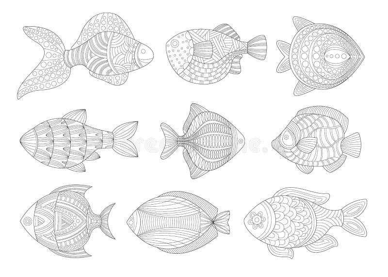 热带鱼集合成人Zentangle彩图例证 库存例证