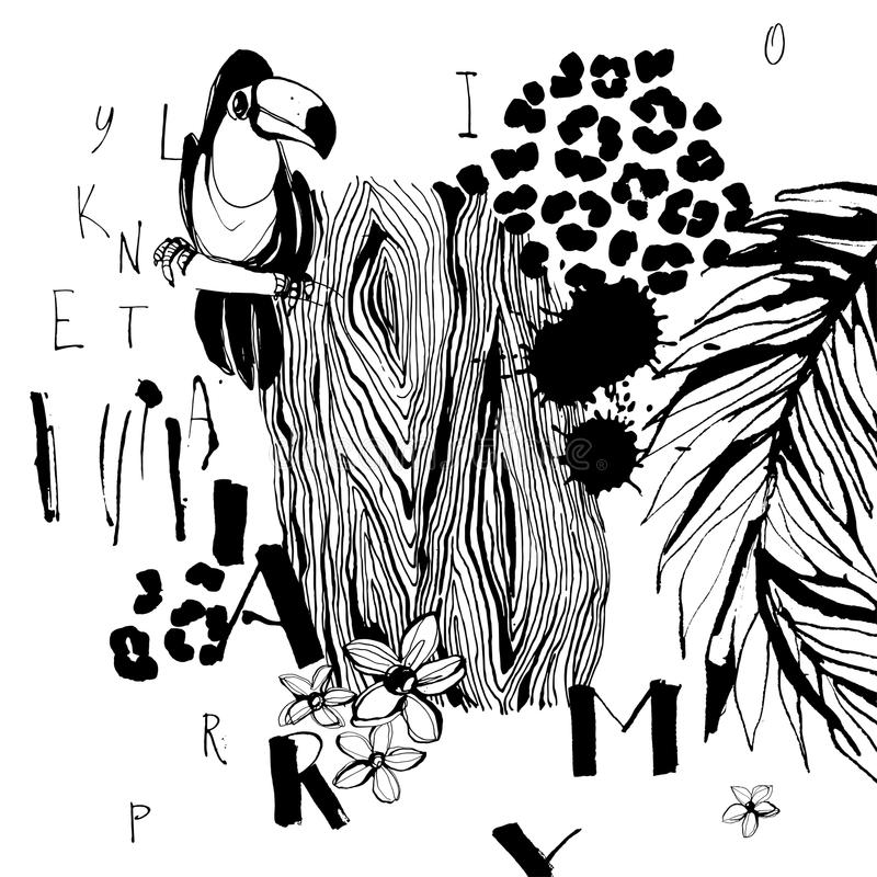 热带鸟、棕榈、花和信件的样式 脏的墨水样式 艺术性的创造性的普遍花卉样式 手拉的te 向量例证