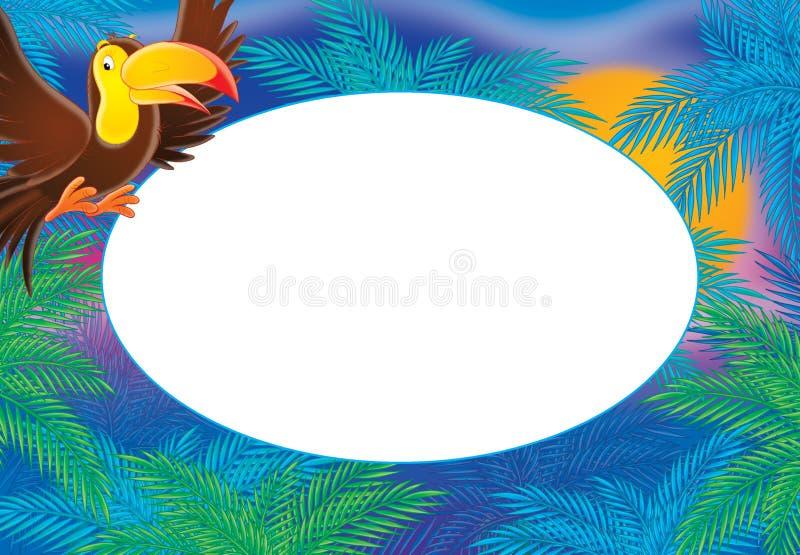 热带鸟和工厂框架 向量例证