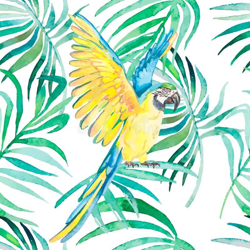 热带鸟和植物无缝的样式 水彩传染媒介 透明的背景 库存例证