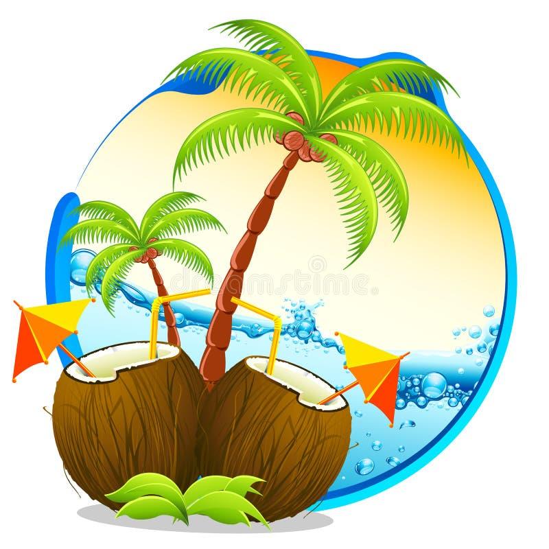 热带鸡尾酒的椰子 库存例证