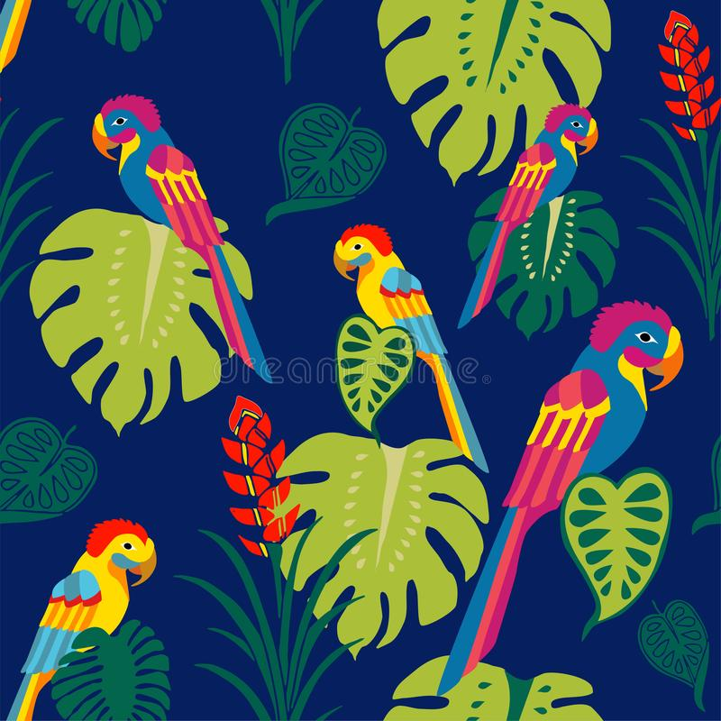热带鹦鹉浮出水面样式传染媒介,五颜六色的鸟重复纺织品设计的,织品打印样式,固定式,包装 向量例证