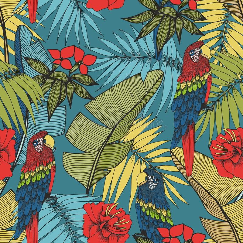 热带鹦鹉的工厂 设计的传染媒介无缝的样式 皇族释放例证