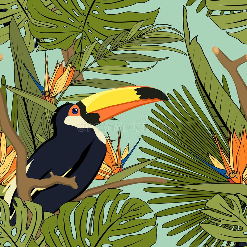 热带黄色黑toucan,异乎寻常的棕榈monstera绿色叶子,橙色蓝色天堂鸟花卉无缝的样式 皇族释放例证