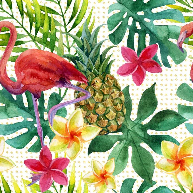 热带水彩菠萝、花和叶子有阴影的 向量例证