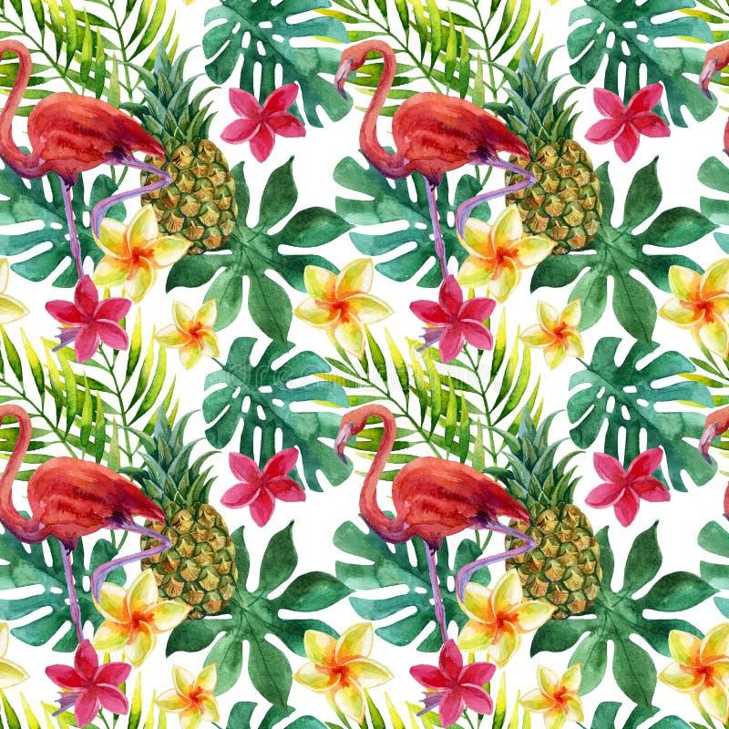 热带水彩菠萝、花和叶子有阴影的 皇族释放例证