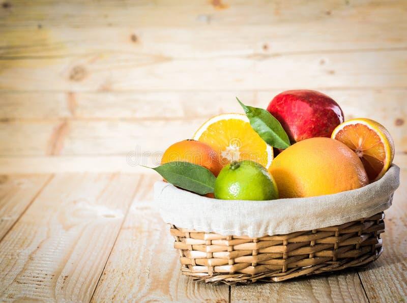 热带水果五颜六色的篮子  库存图片