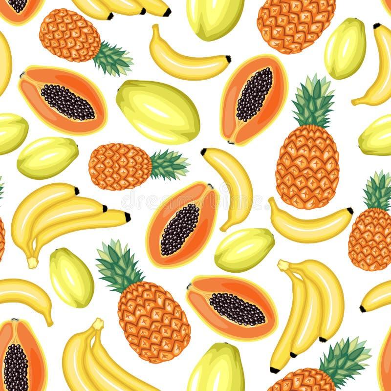 热带水果无缝的样式 皇族释放例证