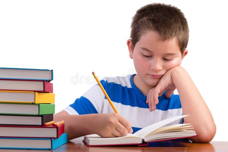 年轻热忱中学男性孩子学习 免版税库存图片