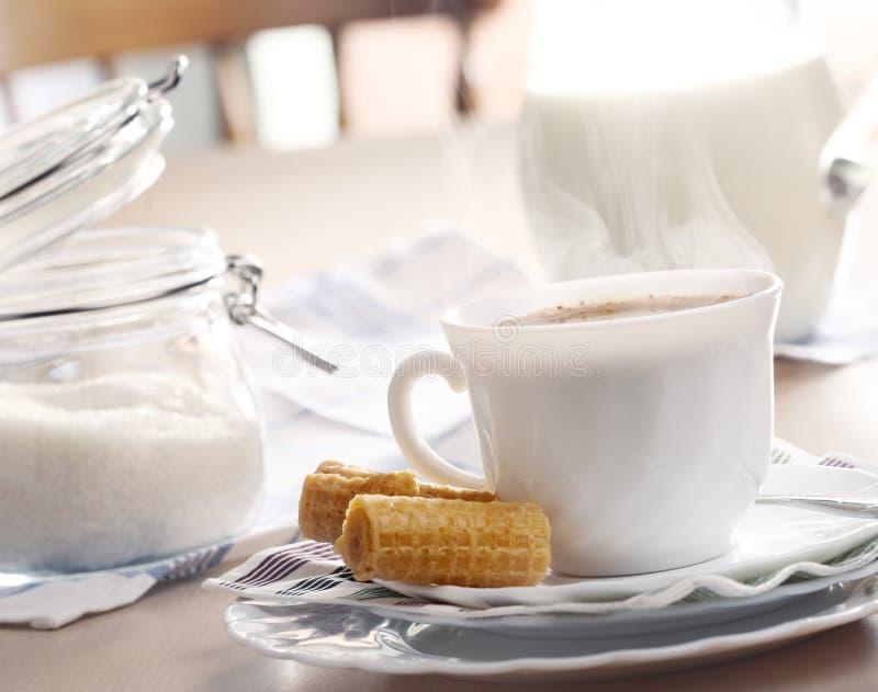 热早餐的咖啡 图库摄影