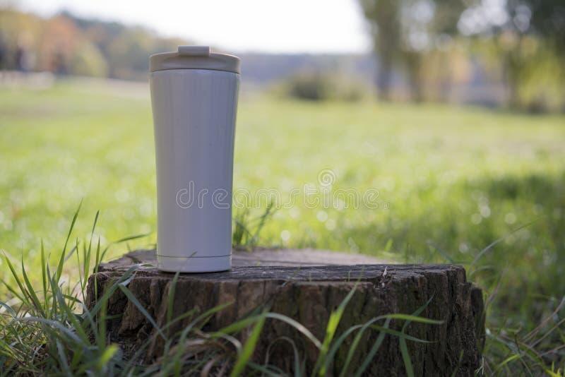 热杯子在树桩站立 免版税库存图片