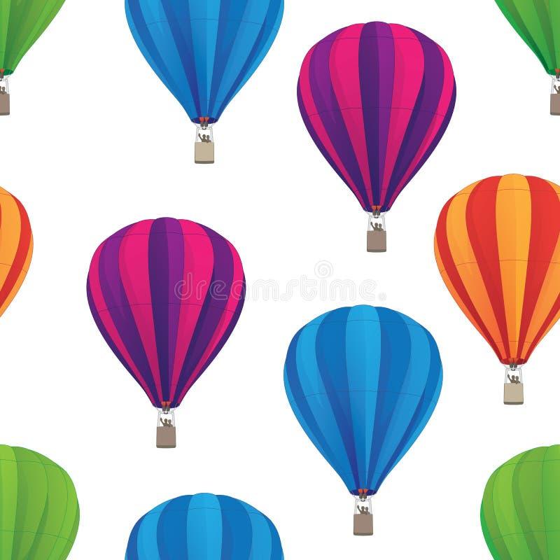 热气球无缝重复模式隔离矢量图示 库存照片