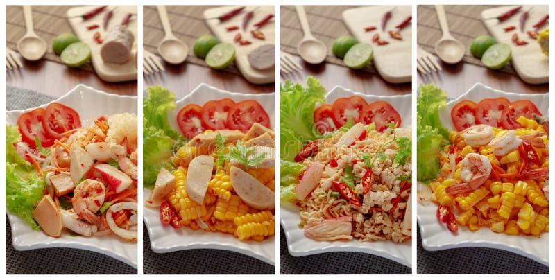 热泰国的沙拉和刺激性食物 图库摄影
