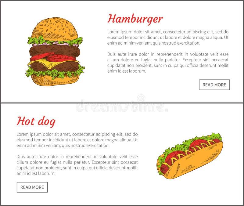 热狗和汉堡包集合传染媒介例证 皇族释放例证