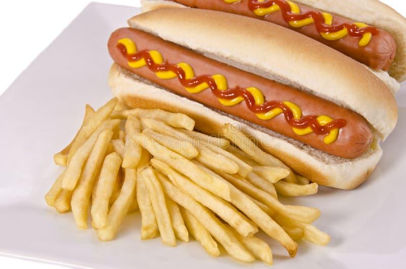 热狗和炸薯条 库存图片