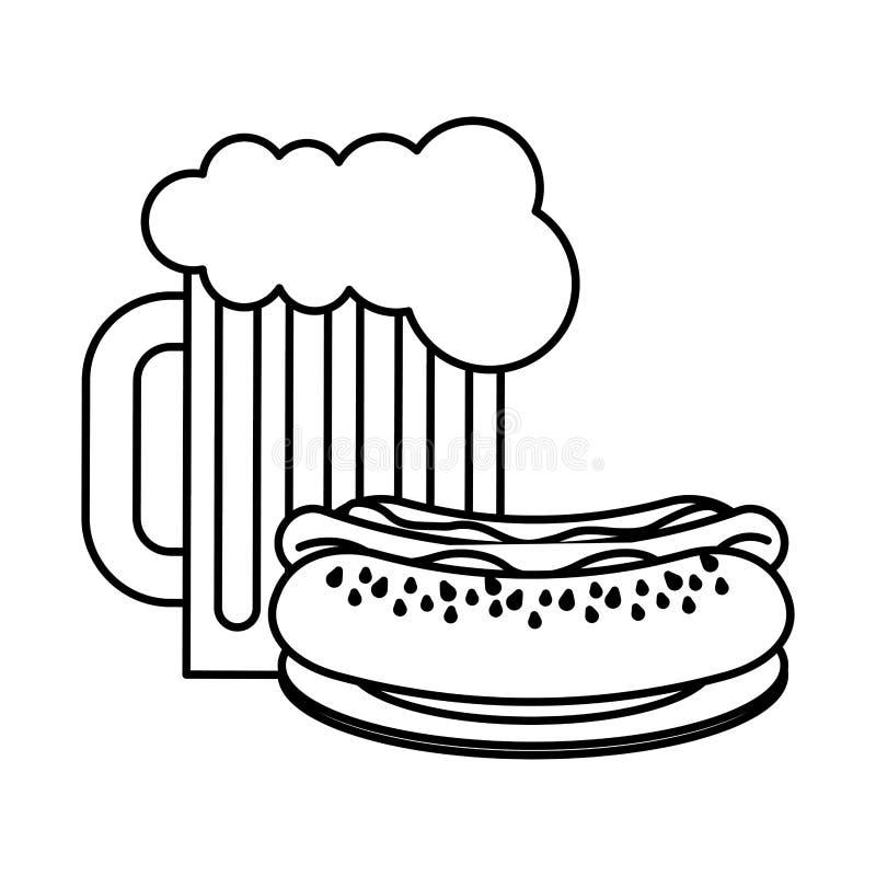 热狗啤酒杯便当 皇族释放例证