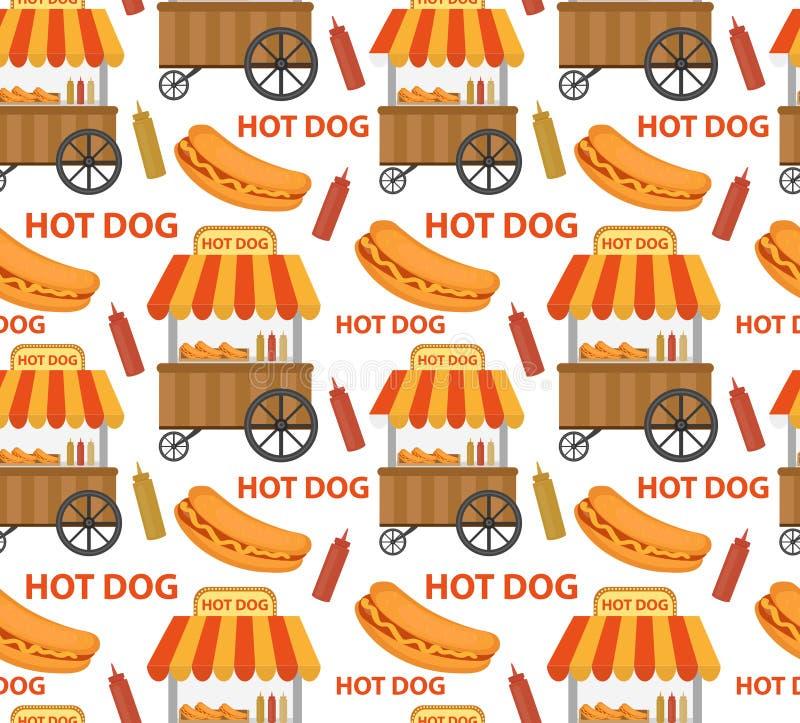 热狗无缝的样式,不尽的纹理 重复背景的快餐 也corel凹道例证向量 向量例证