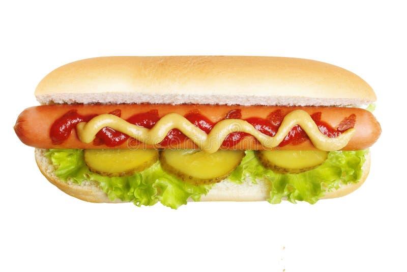 热狗格栅用芥末和番茄酱 库存图片