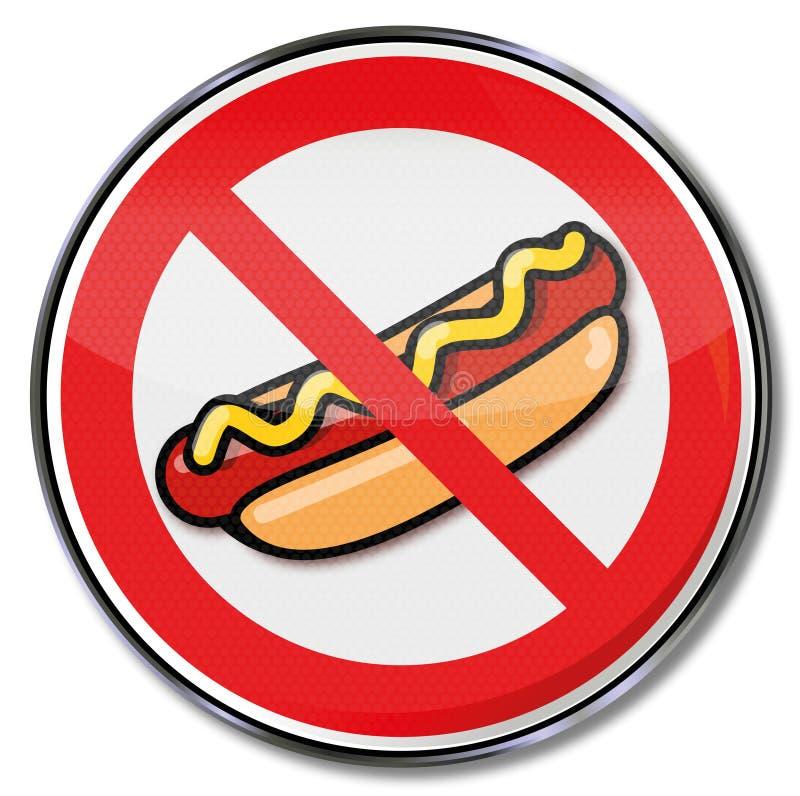 热狗的禁止用香肠和芥末 向量例证